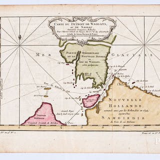 Two Bellin 1758 hand colored maps