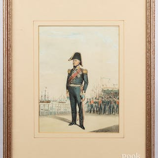 Color lithograph of a Naval officer