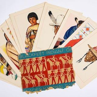Blackfeet Indians of Glacier National Park lithographs