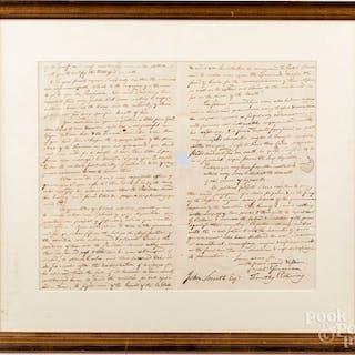 Timothy Pickering hand written letter