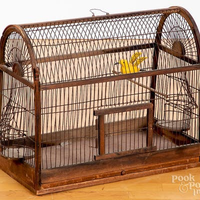 Pine and wire birdcage
