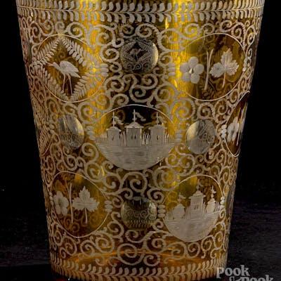 Large etched amber glass vase