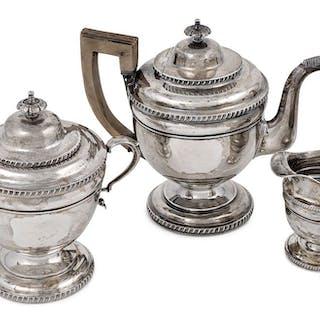 Philadelphia three-piece coin silver tea service