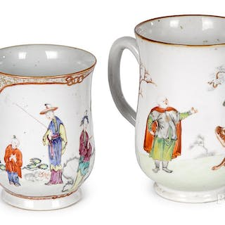 Two Chinese export porcelain mugs, early 19th c.