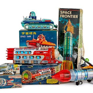 Four tin space toys, in the original boxes