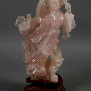 Carved Chinese Pink Jade Guanyin