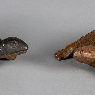 Two cast iron turtle doorstops