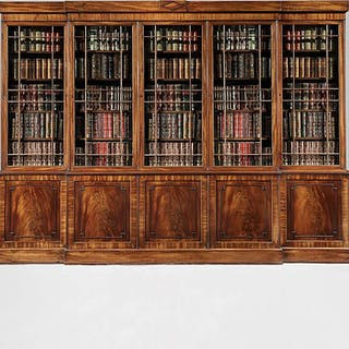 An Imposing Regency Mahogany Breakfront Library Bookcase