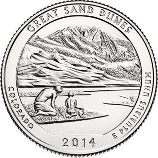 2014-P 25c Great Sand Dunes NP 100 Coin Bag in Mint Box ($25 Bag)