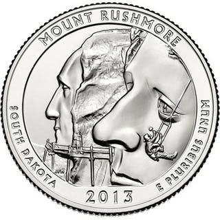 2013-P 25c Mount Rushmore NP 100 Coin Bag in Mint Box ($25 Bag)
