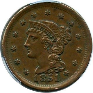 1851 1c PCGS AU55 BN