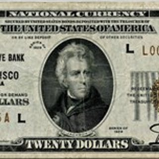 FR. 1870L 1929 $20 Federal Reserve Bank Note San Francisco PMG Very Fine 30