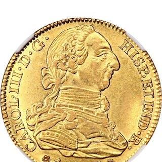 Spain: Charles III 1786-M DV 4 Escudos NGC AU58 (KM# 418.1a)