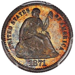 1871 H10c PCGS/CAC Proof 65 ex: D.L. Hansen