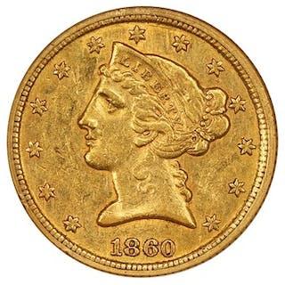 1860-C $5 NGC AU55