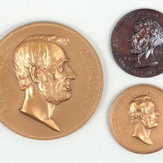 Group of (3) Abraham Lincoln bronze medals. FR3SH.