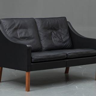 Børge Mogensen two-seater sofa, 2208, upholstered in black leather.