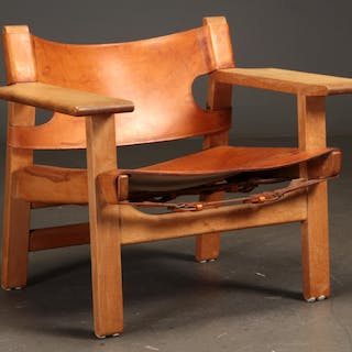 Børge Mogensen, The Spanish Chair, oak with cognac-coloured harness leather