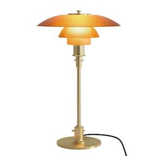 Poul Henningsen. PH 3/2 table lamp in brass, amber-coloured glass