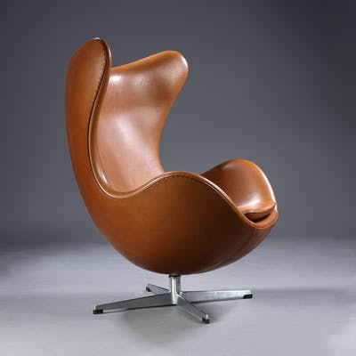Egg Chair Cognac.Arne Jacobsen The Egg Early Model 1960s Lounge Chair With