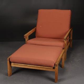 H.J. Wegner. Lounge chair and footstool, GE-412, oak (2)