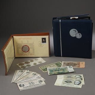 Danmark m.fl. Samling mønter og pengesedler, bl.a. af sølv