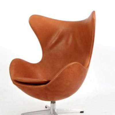 Egg Chair Cognac.Arne Jacobsen The Egg Easy Chair Model 3316 Cognac Coloured