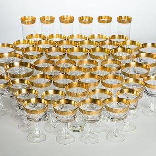 52 Gläser / Kristallgläser / Trinkgläser mit Goldkante (52)