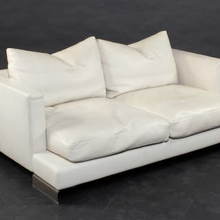 Flexform Long Island two-seater sofa white leather – Current ...