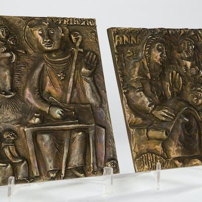 Zwei Wandplatten / Reliefs, Bronze, Abtei Maria Laach (2)
