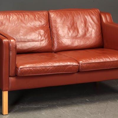 Stouby. To-pers. sofa, model Eva, rødbrunt læder