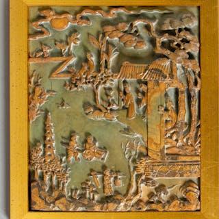 Schnitzerei / Relief in Stein. China. 20 Jh.