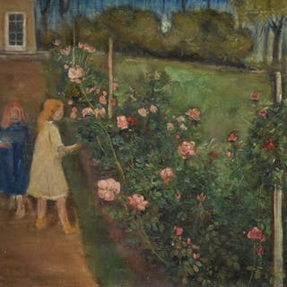 Ubekendt kunstner. Haveparti med to piger ved rosenbed, olie på lærred