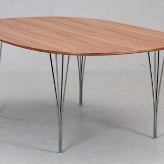 Piet Hein/Bruno Mathsson, Super-Ellipse table in walnut