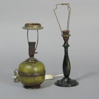 2 bordlamper af bronze / patineret metal (2)