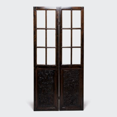Pair of Carved and Painted Glass Doors