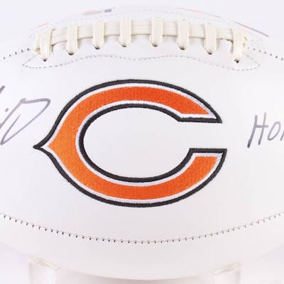 "Mike Singletary Signed Bears Chicago Logo Football Inscribed ""HOF"