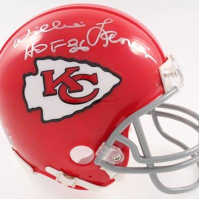 "Willie Lanier Signed Kansas City Chiefs Mini-Helmet Inscribed ""HOF"
