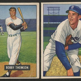 Lot Of 2 Baseball Cards With 1951 Bowman 126 Bobby Thomson 1952 Current Sales Barnebys