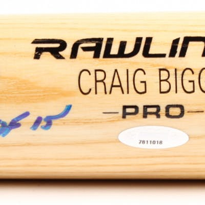 Craig Biggio Signed Rawlings Pro Custom Engraved Baseball Bat Inscribed