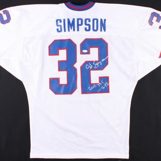 lowest price bdb64 89388 O.J. Simpson Signed Bills Jersey Inscribed