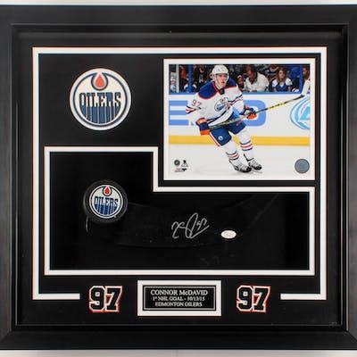 "Connor McDavid Signed Oilers ""1st NHL Goal"" 23x25x3 Custom Framed"