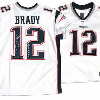 "Tom Brady Signed Patriots LE Jersey Inscribed ""SB 51 MVP"" (Steiner"