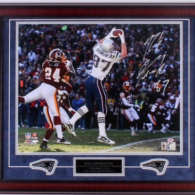 Rob Gronkowski Signed Patriots 23x27 Custom Framed Photo Display (Gronkoski