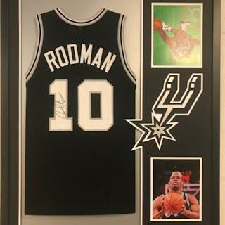 """Dennis Rodman Signed Spurs 34x42 Custom Framed Jersey Inscribed """"4256"""""""
