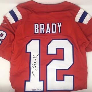 best sneakers 65969 18ceb To the auction · Tom Brady Signed LE Patriots Nike Vapor Elite Red Jersey  (Steiner
