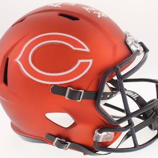 00d4044d3 Short time left! Brian Urlacher Signed Bears Full-Size Custom Matte Orange  Speed Helmet Pristine Auction