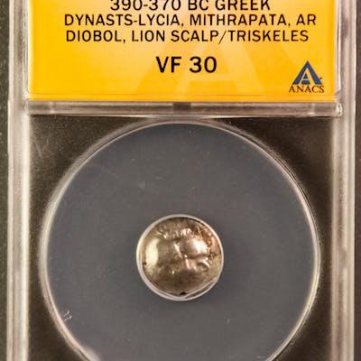 390-370 BC Greek, Dynasts-Lycia, Mithrapata AR (Silver) Diobol, Lion