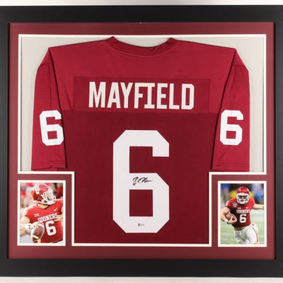low priced 89925 babf8 Baker Mayfield Signed Oklahoma Sooners 31x35 Custom Framed ...