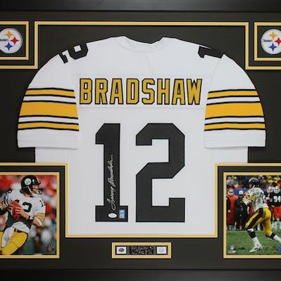 Terry Bradshaw Signed Steelers 35x43 Custom Framed Jersey Display